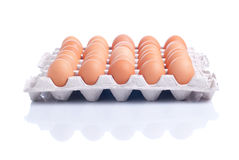 Many brown eggs laid in a tray isolated on white background with. Many brown eggs laid in tray isolated on white background with reflection side and top view Royalty Free Stock Photos