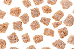 Many brown lump cane sugar cubes Stock Photos