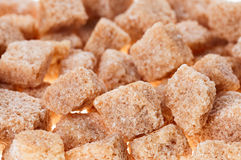 Many brown lump cane sugar cubes Stock Photography