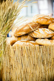 Many brown rustic fresh rye bread loaves Royalty Free Stock Photography