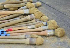 Many brushes for archaeological excavations stock image