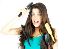 I can't brush my hair this morning Stock Images