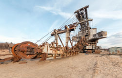 Many buckets of giant quarry excavator Royalty Free Stock Image