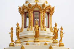 Many buddha stand. The gold buddha stand image on the chapel at Nakhonpanom, Thailand Stock Photos