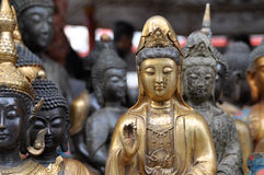 Many buddha statues Royalty Free Stock Images