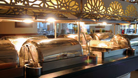 Many Buffet Heated Trays Ready For Service Royalty Free Stock Photography
