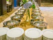 Many buffet trays ready for service Stock Image
