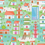 Many Building Seamless Pattern_eps. Illustration of many building seamless pattern with natural background Royalty Free Stock Image