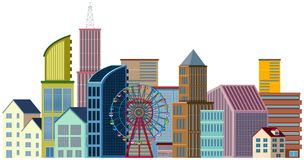 Many buildings and ferris wheel. Illustration Royalty Free Stock Photography