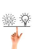 Many bulb equal a big bulb. Many bulb equal big bulb stock images