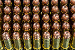 Many bullets for a pistol with copper tips Royalty Free Stock Photos
