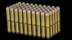 Many bullets in rows many of brass and lead Stock Images