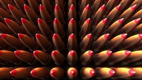 Many bullets top down view, 3D rendering. War, ammunition, aggression concepts Stock Images