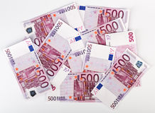 Many  bundle of 500 Euro bank notes Stock Photo