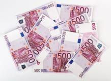 Many  bundle of 500 Euro bank notes Stock Photo