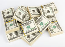 Many  bundle of US 100 dollars bank notes Stock Photo