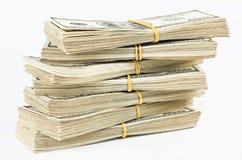 Many  bundle of US 100 dollars bank notes Royalty Free Stock Photo
