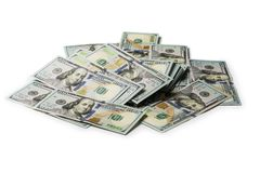 Many bundle of US 100 dollars bank notes isolated stock photos