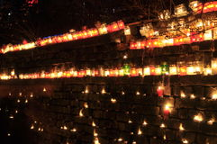 Many burning candles Stock Images