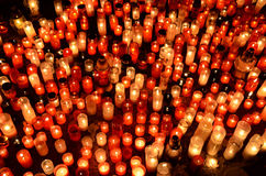Many burning candles in graveyard. At night Royalty Free Stock Photos