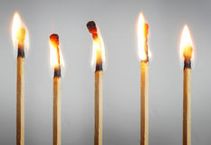 Many burning matches Royalty Free Stock Images