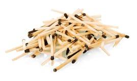 Many burnt matches isolated on white. Stock Photography