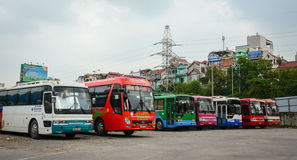 Many buses at parking lot in Hanoi, Vietnam Stock Photos