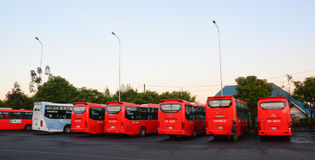 Many buses parking at the station in Dalat, Vietnam Royalty Free Stock Photos