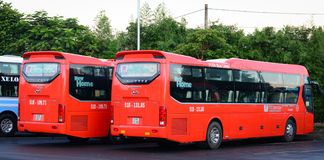 Many buses parking at the station in Dalat, Vietnam Stock Image