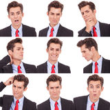 Many business man facial emotional expressions stock photo