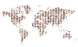 Many business people on world map. Plotted as a concept for international cooperation Stock Image