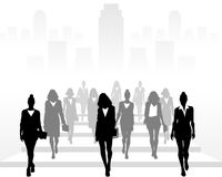 Many businesswomen going forward. Vector illustration of many businesswomen going forward Stock Photo