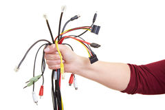 Many cables in hand Stock Photos