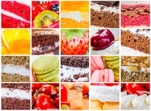 Many cake. Collage many cake with many beverages in set stock photos