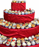 Many cake with cream and fruit during the wedding lunch on white Stock Photo