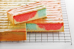 Many cake in metal tray Stock Image