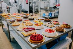 Many cakes prepared on the metal table of a food factory. Many different cakes prepared on the metal table of a food factory stock photography