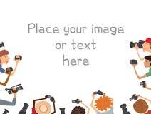 Many cameramans isolated on white background Stock Photography