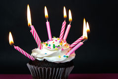 Many candles on chocolate cupcake Stock Photos