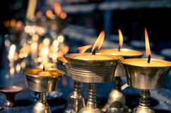 Candles in temple in Nepal Stock Photos