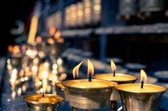 Candles in temple in Nepal Royalty Free Stock Photography