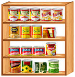 Many canned food on wooden shelves Royalty Free Stock Photos