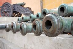Many cannons in Moscow Kremlin. UNESCO Heritage Site. Stock Image