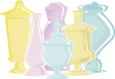 Many cans of different shapes and color. Many multi-colored bottles of different shapes: blue, yellow, pink Stock Photo