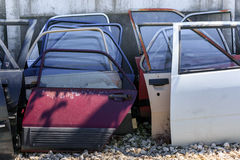 Many car doors for aftermarket. Spare parts. Many car doors for aftermarket for shop auto service Stock Photos