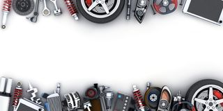 Free Many Car Parts On White Background Stock Photos - 143620063