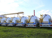 Many cargo tank truck in a parking lot in Krasnogorsk, Russia Royalty Free Stock Photos