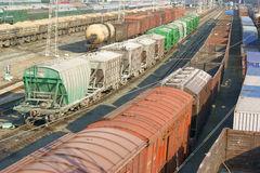 Many cargo wagons Stock Photos
