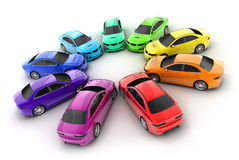 Many cars colour. On a white background  (done in 3d rendering Stock Images