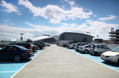 Many cars are parked. Blue sky and white clouds. very good weather Royalty Free Stock Photography